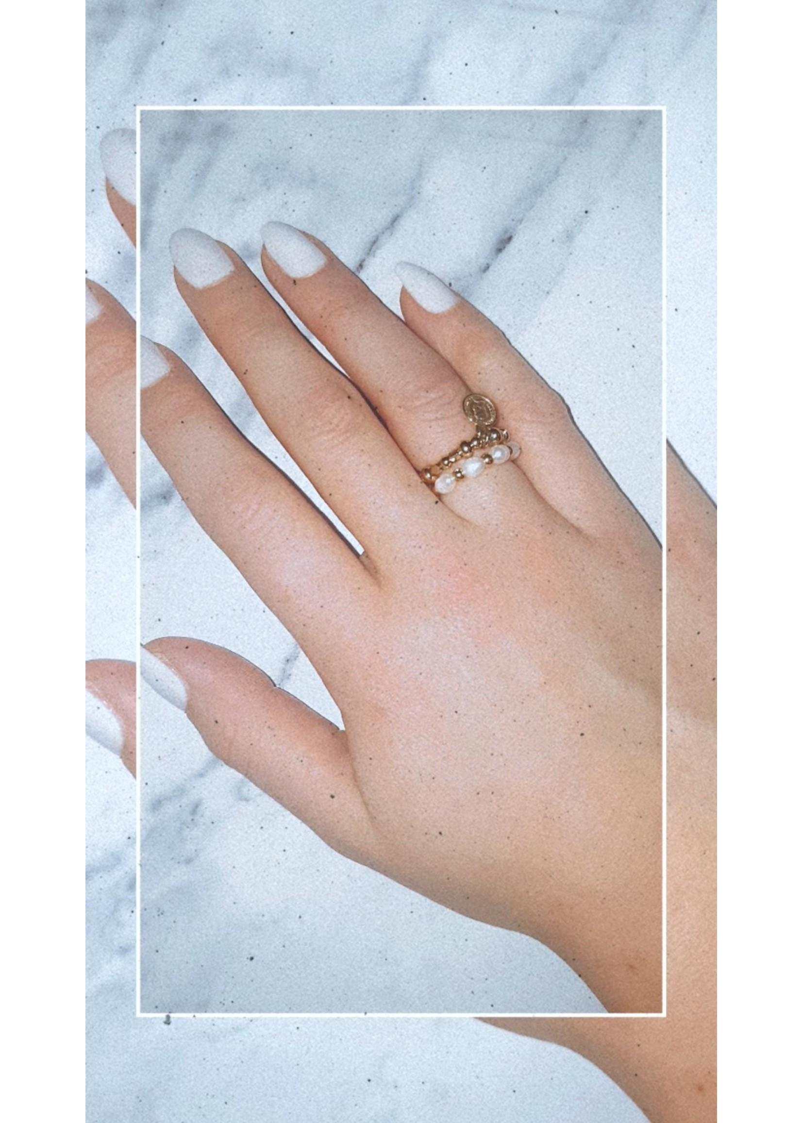 My Jewellery Ringetje van elastiek parel GOUD