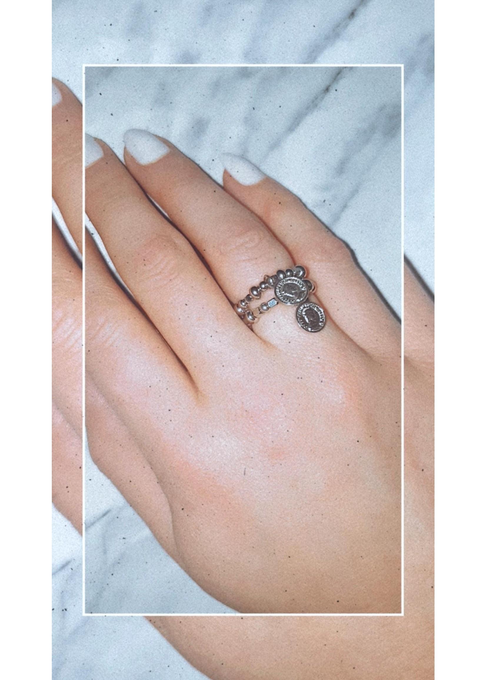 My Jewellery Ringetje van elastiek met munt ZILVER