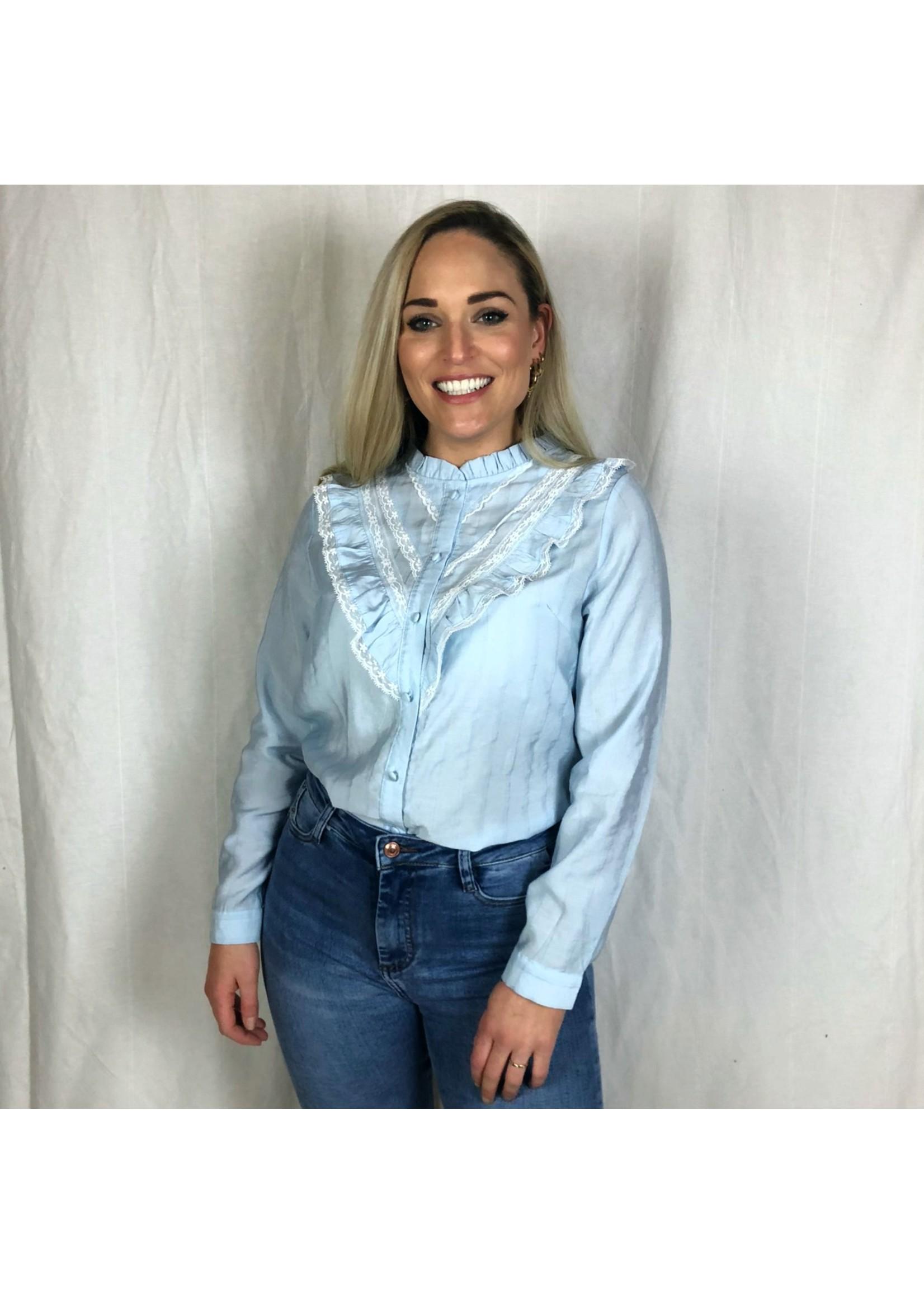 Ladybugs Ruffel en kant blouse MUALLA baby blauw