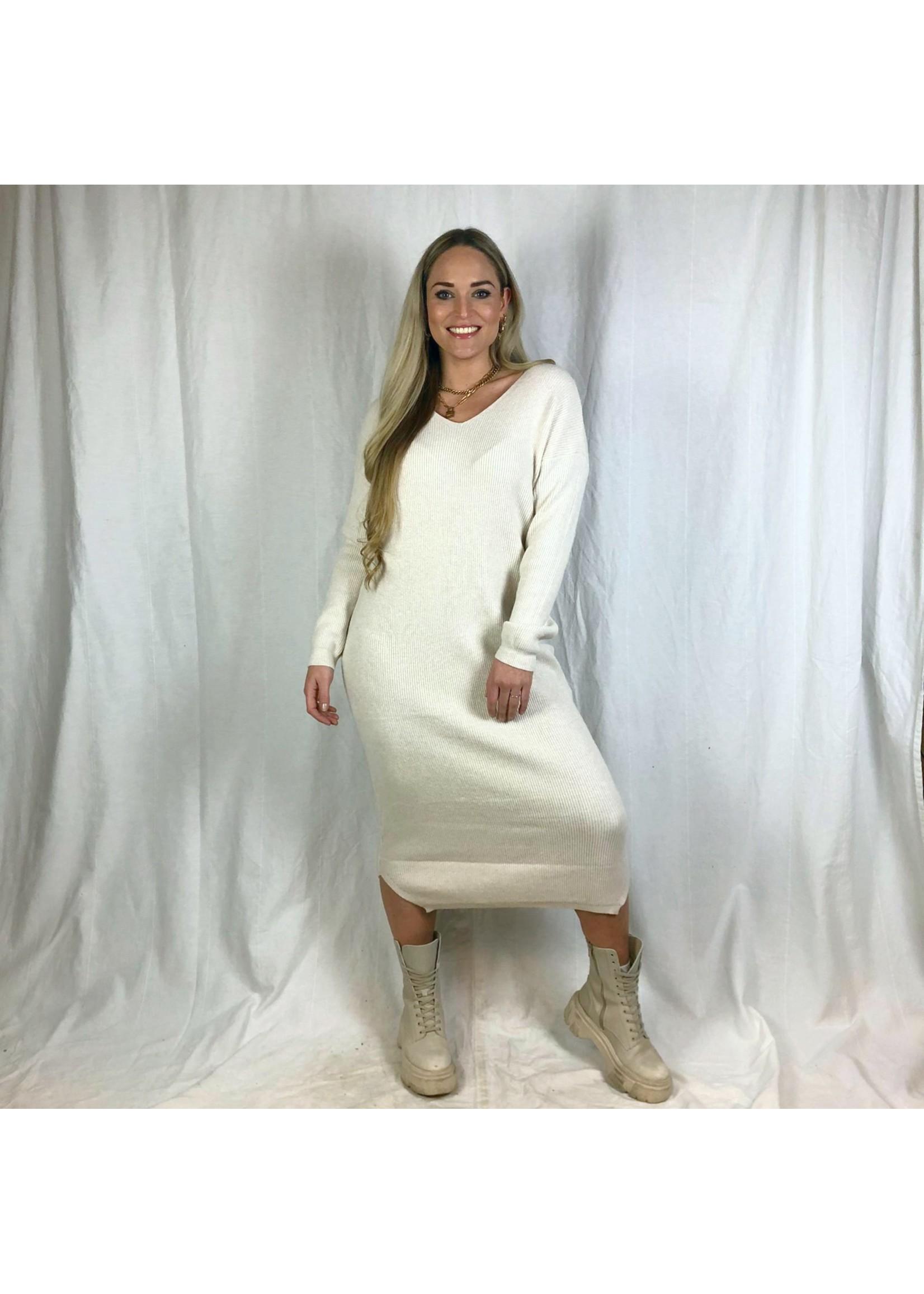 Ladybugs Lang gebreide jurk Shirley V off white