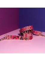 Pinned by K riem leer lang slang roze