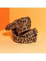 Pinned by K riem leer lang leopard bruin