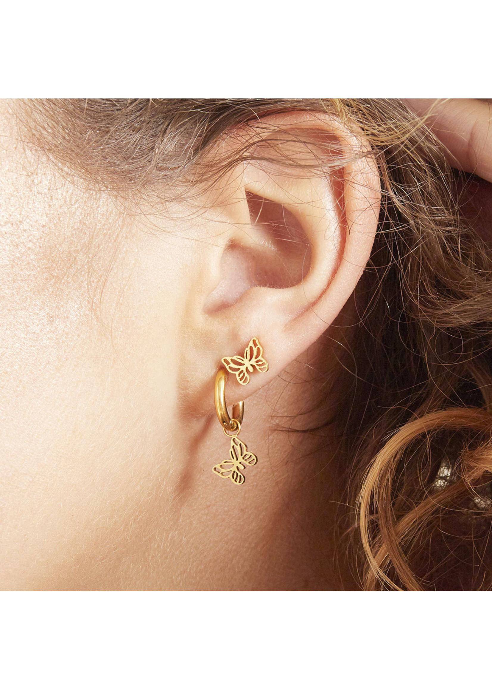 Ladybugs Oorbellen floating goud