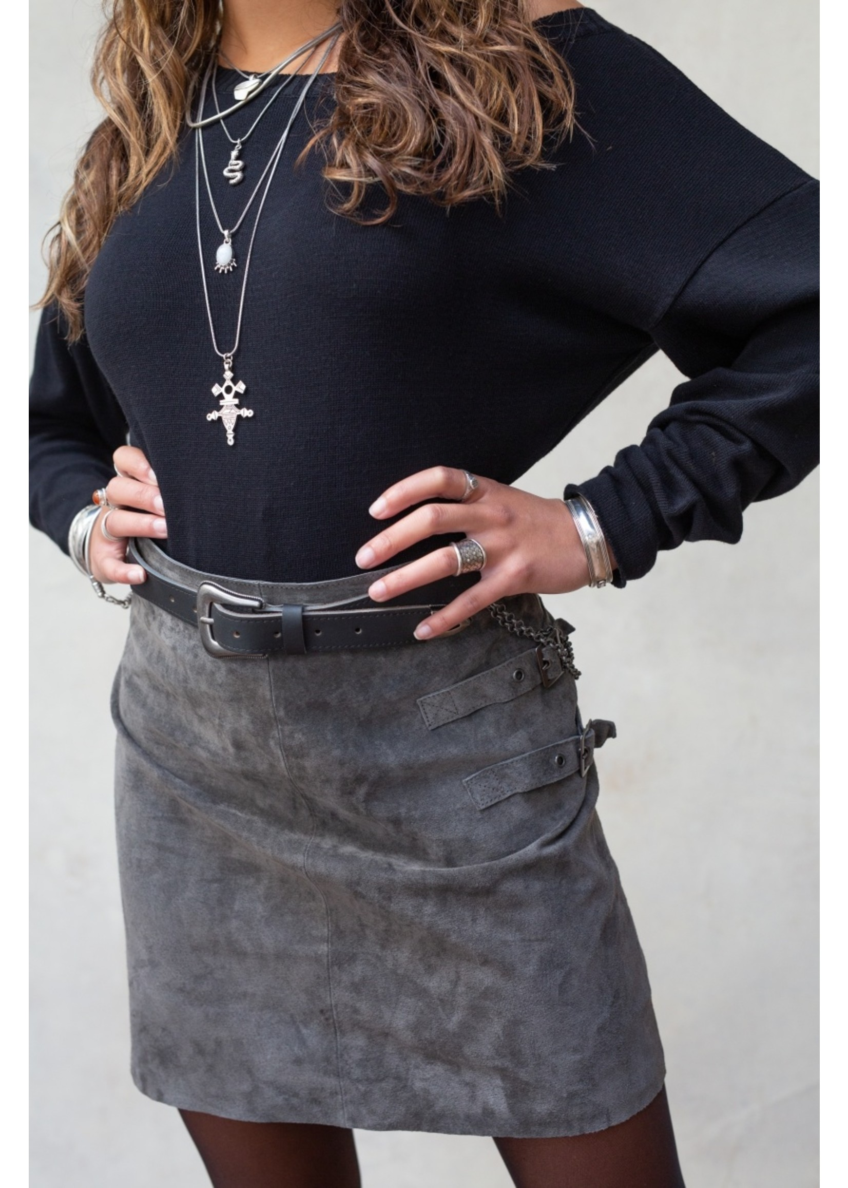 Moost Wanted River leather buckle skirt STONE GREY M