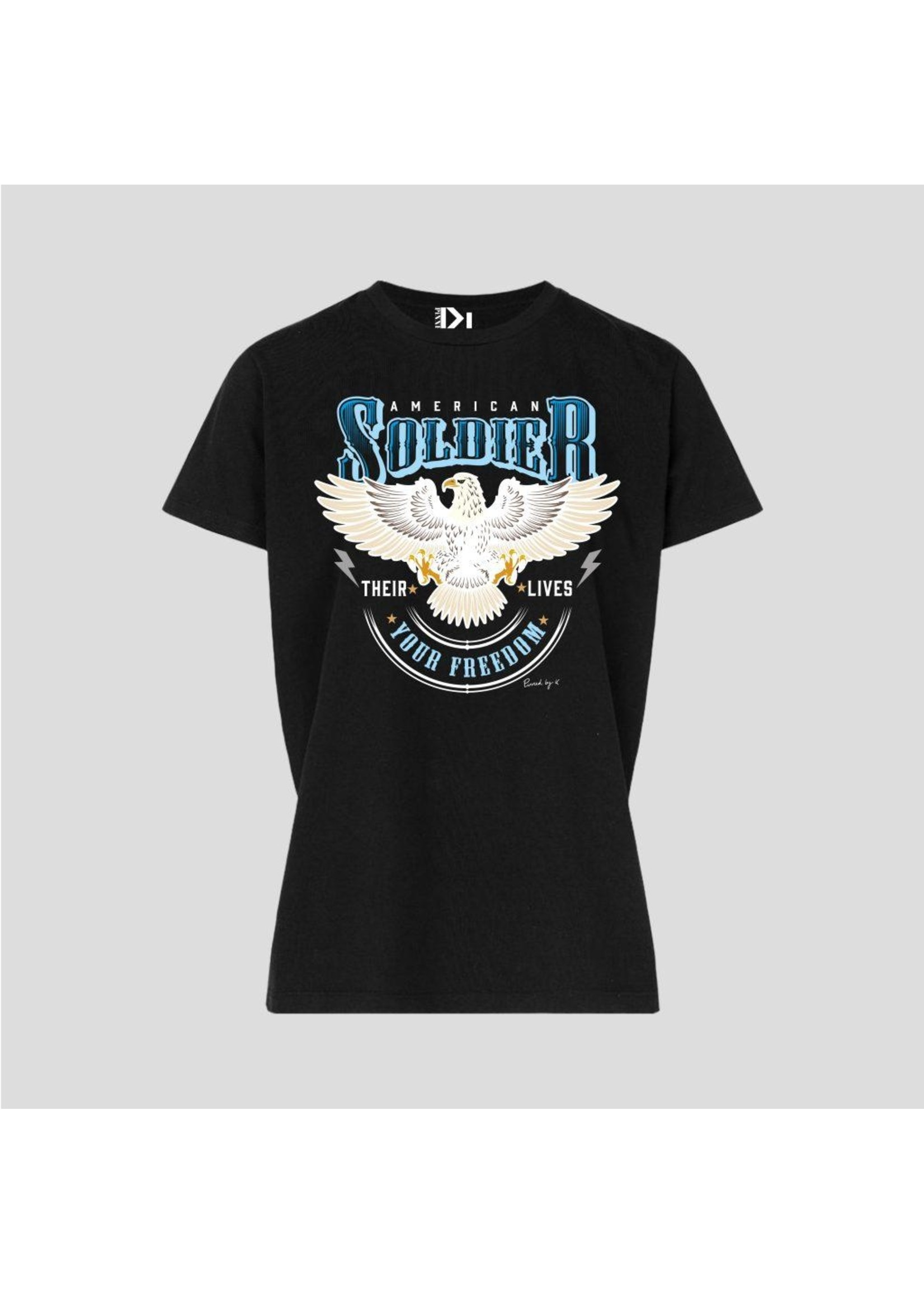 Pinned by K T-shirt white american soldier black