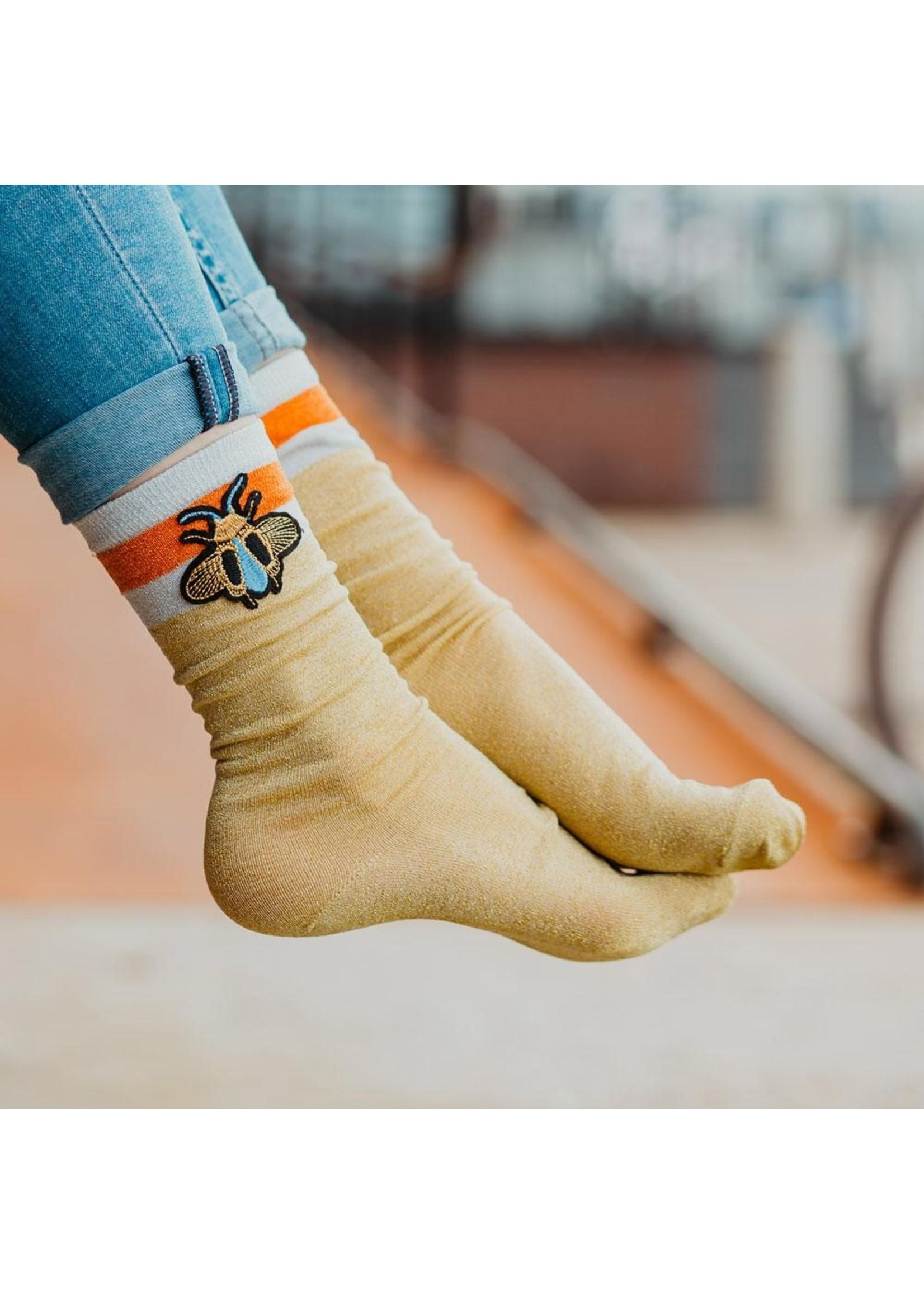 Pinned by K Socks glitter yellow bee