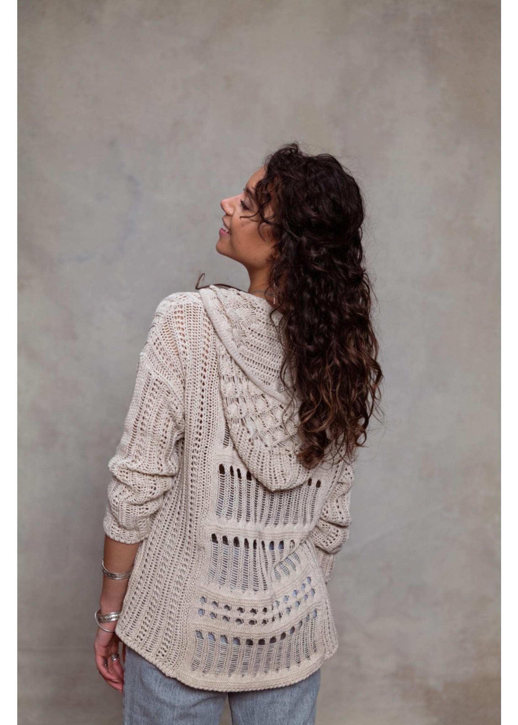 Moost Wanted Musa knitted hoodie BEIGE