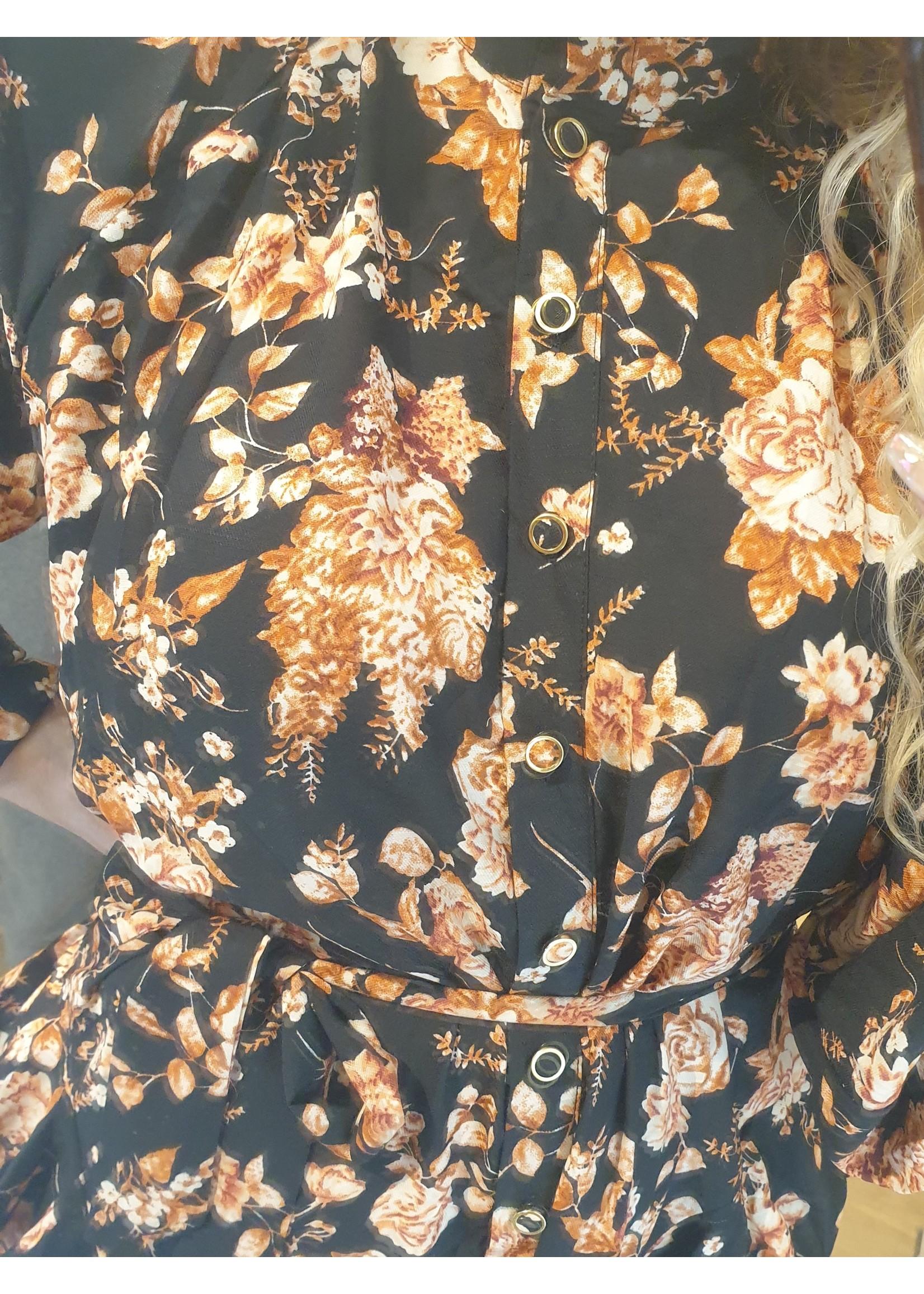 Ladybugs Exclusieve lange jurk Sandro BLACK/PEACH