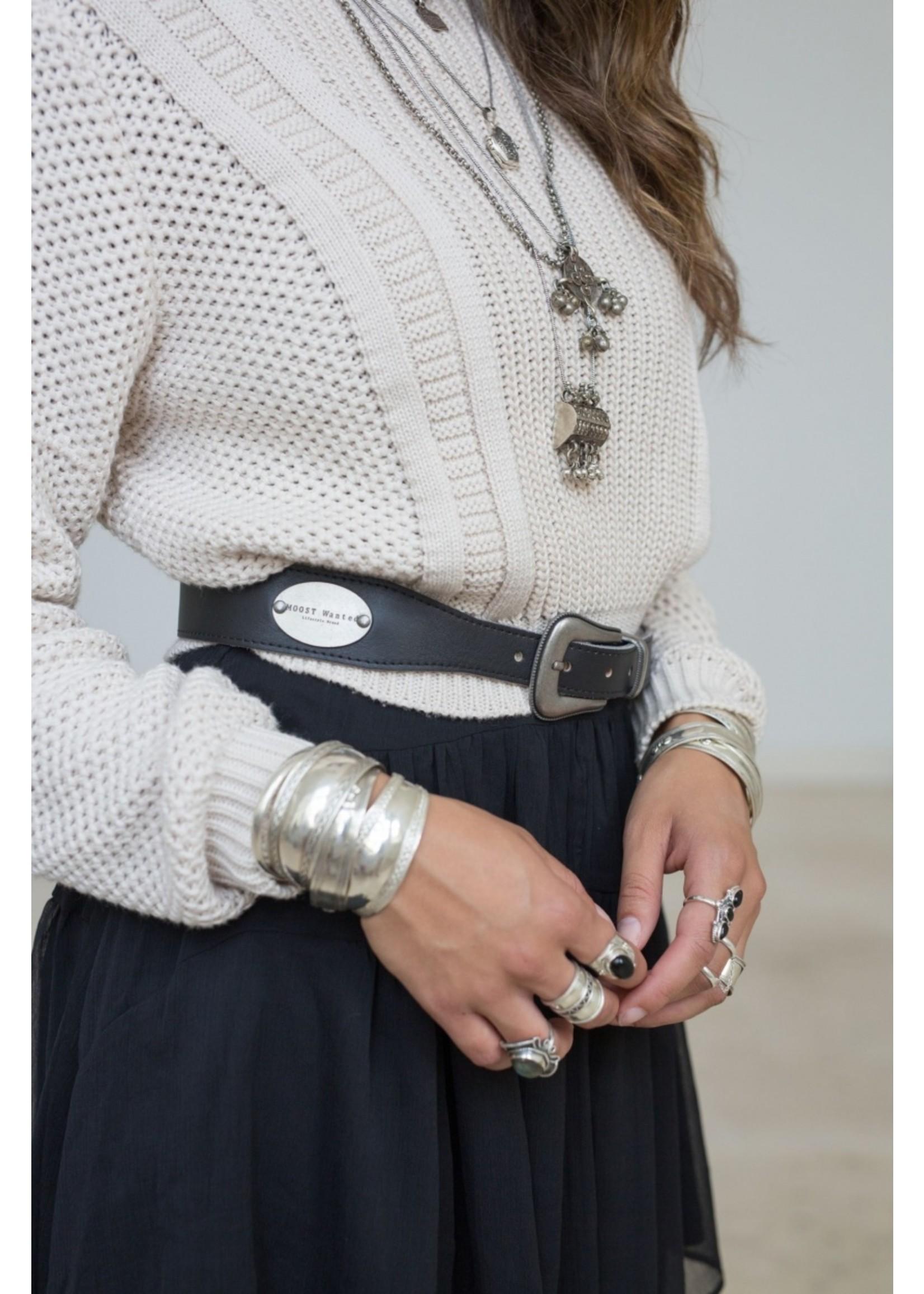 Moost Wanted Nova Leather Chain Belt BLACK