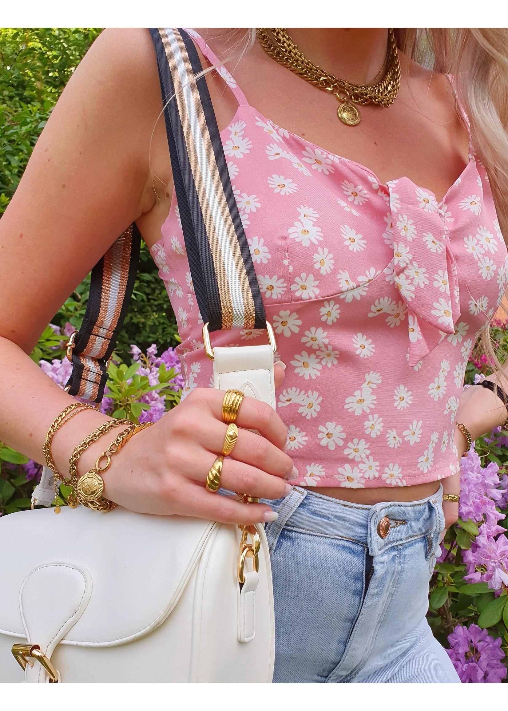 Ladybugs Strik top Fleur ZACHT ROZE