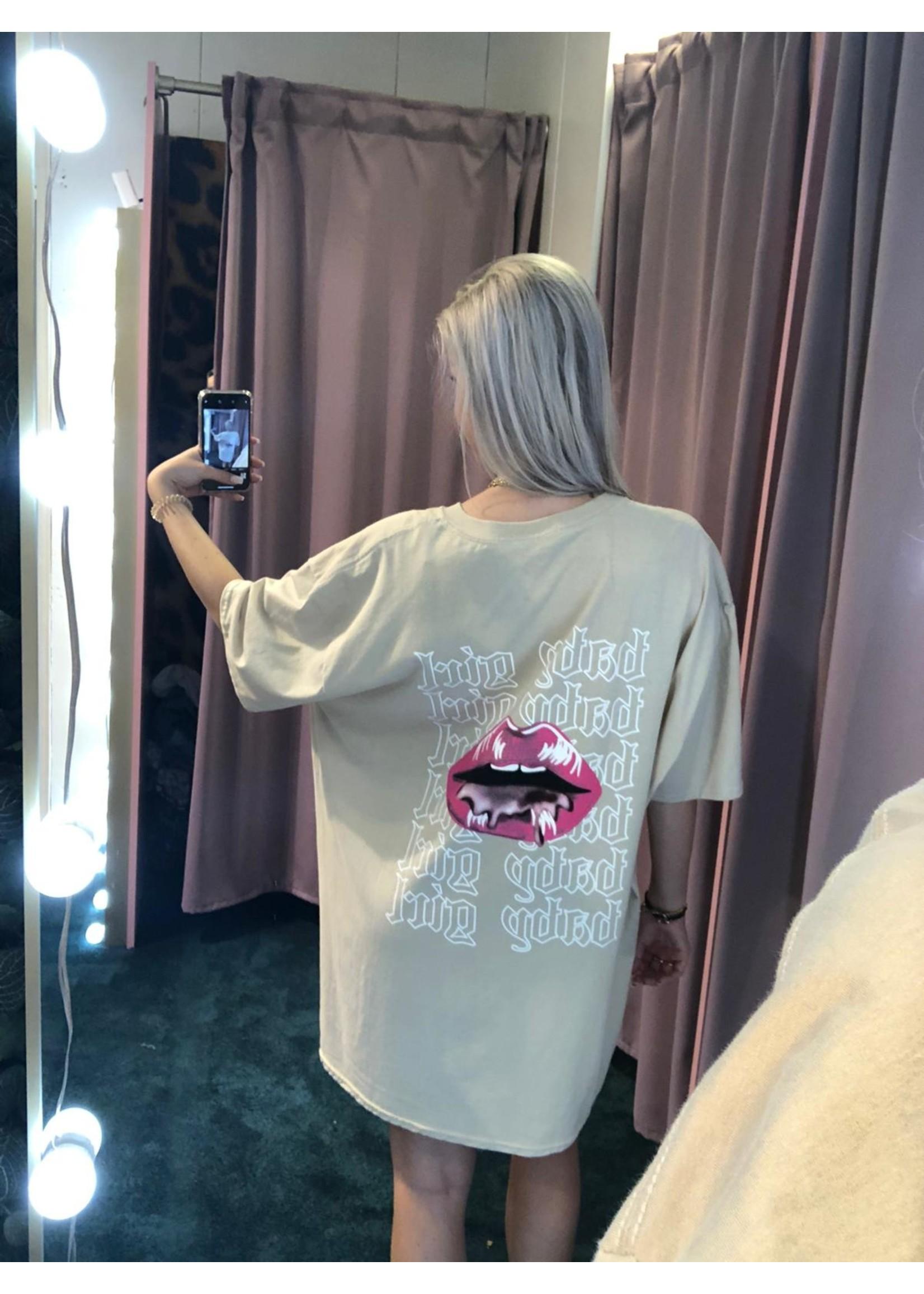 Ladybugs Oversized shirt dress KIKI Beige