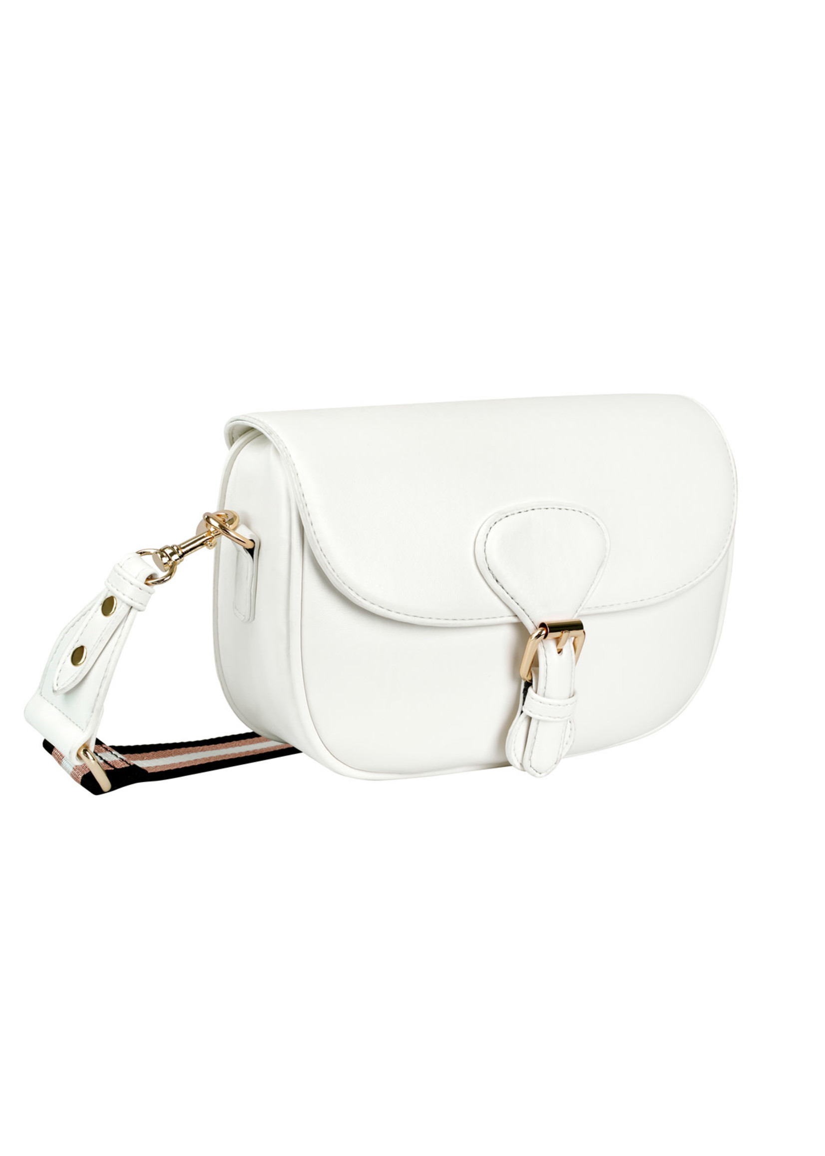 Ladybugs PU bag with buckle closure and striped wide strap