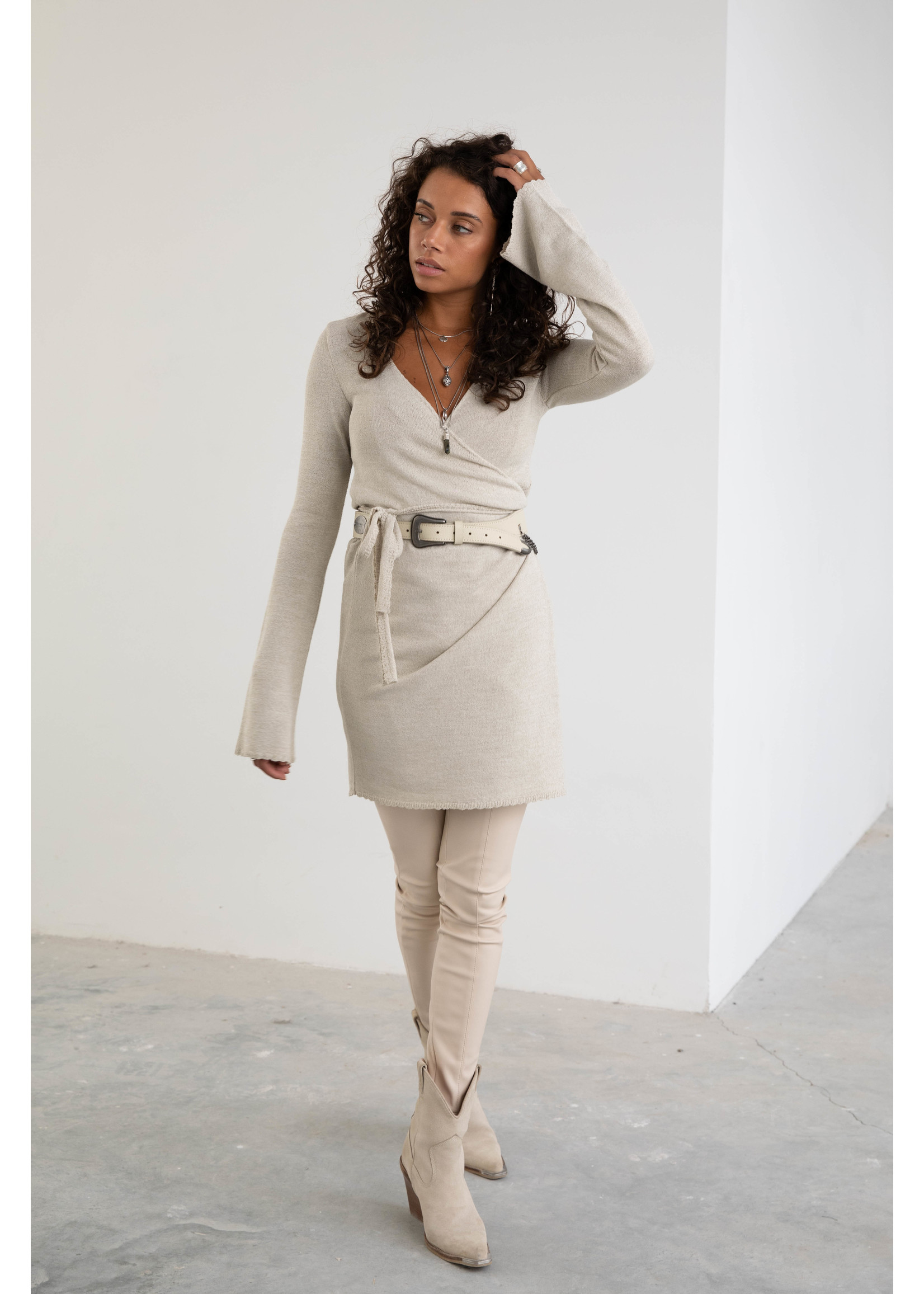 Moost Wanted Zen Knitted Wrap Dress LIGHT BEIGE