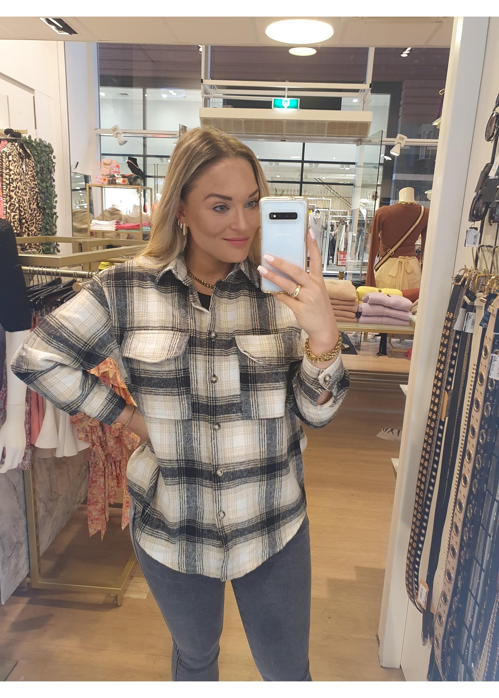 Ladybugs Flanel checked blouse Chantal BEIGE