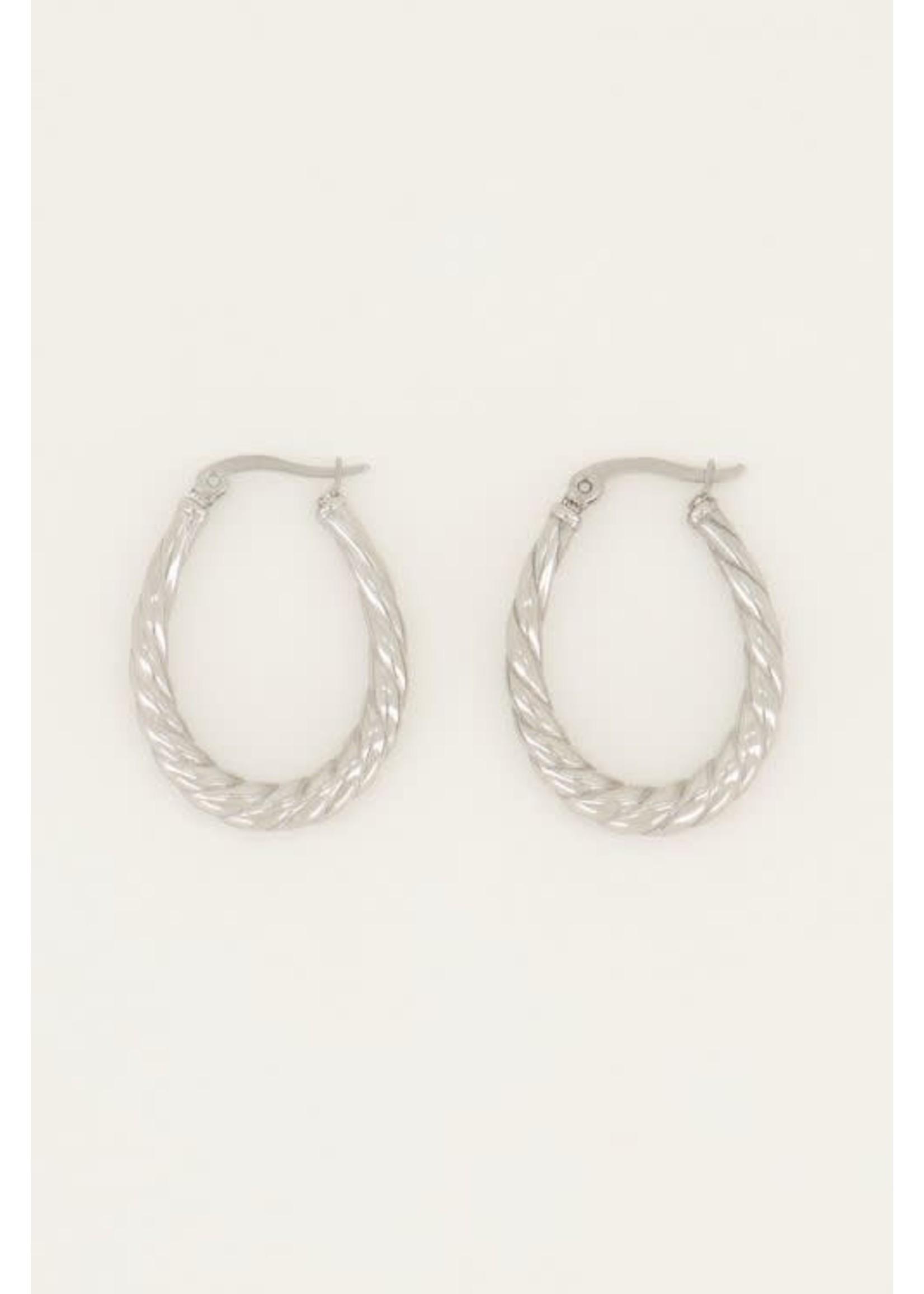My Jewellery Oorringen ovaal gedraaid patroon