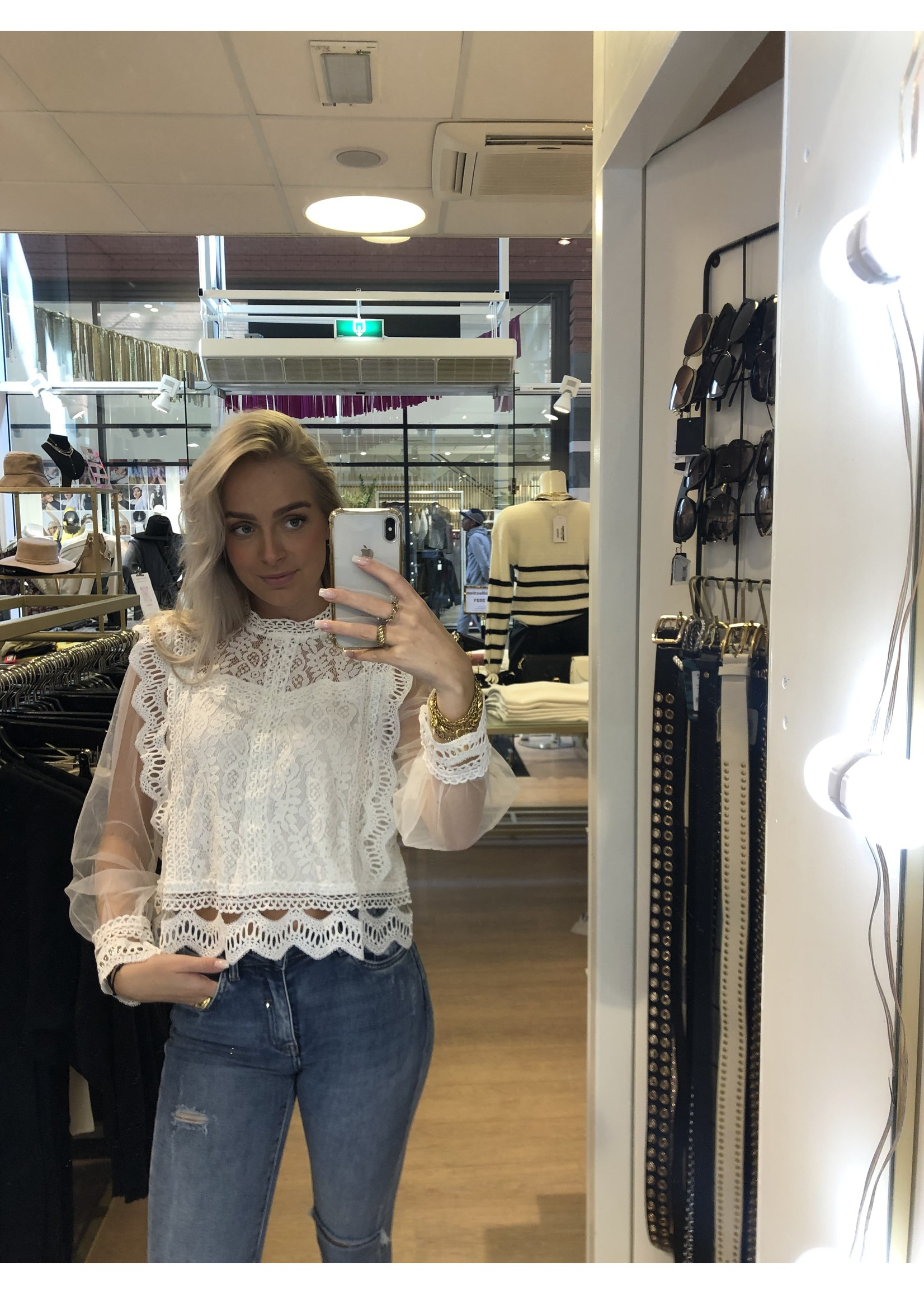 Ladybugs Lace top noralie WIT