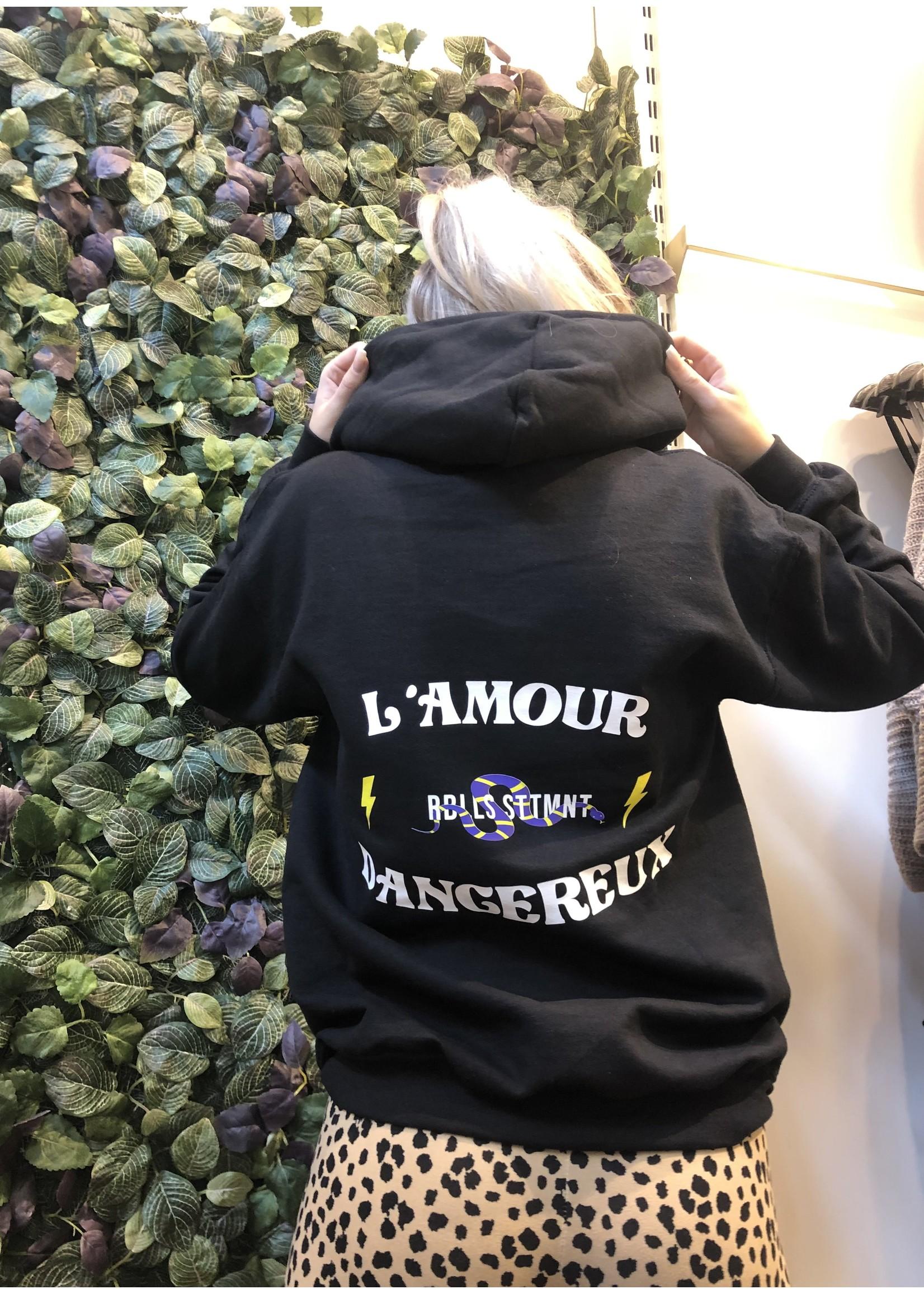 Ladybugs Amour hoodie back print ZWART