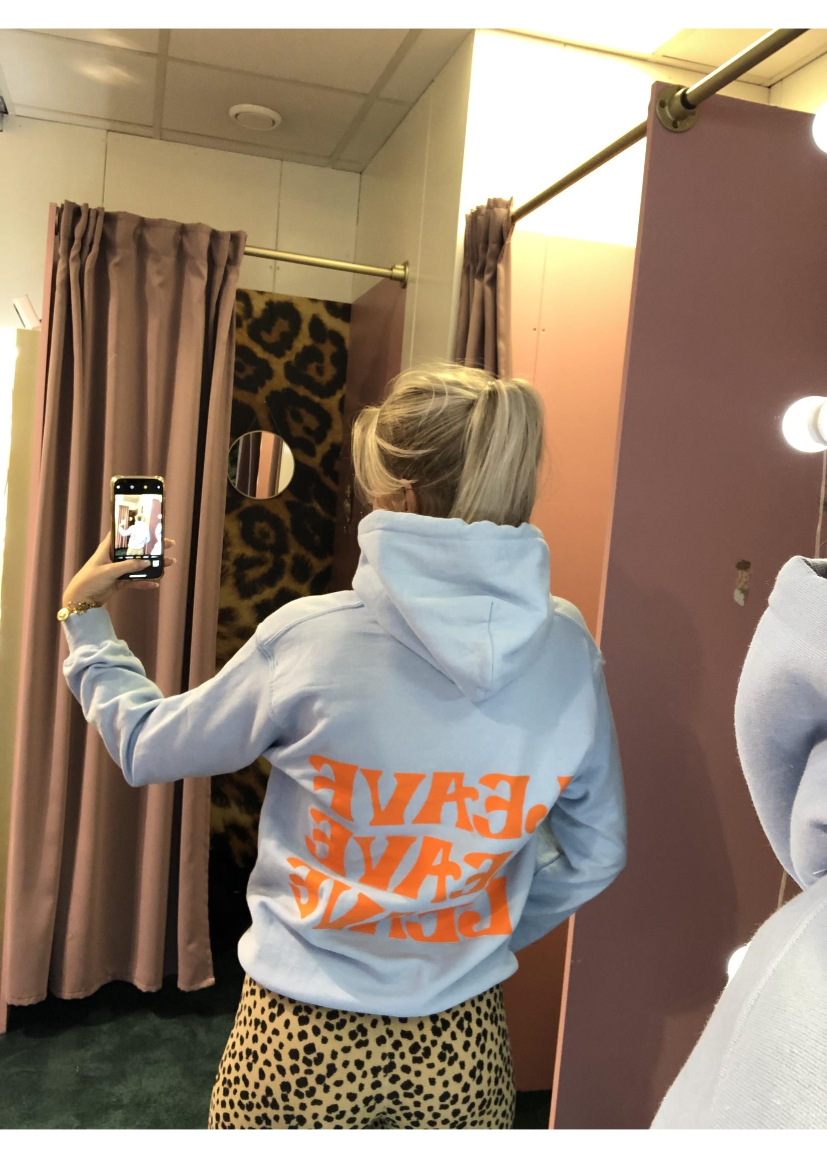 Ladybugs Leave hoodie back print BABY BLAUW