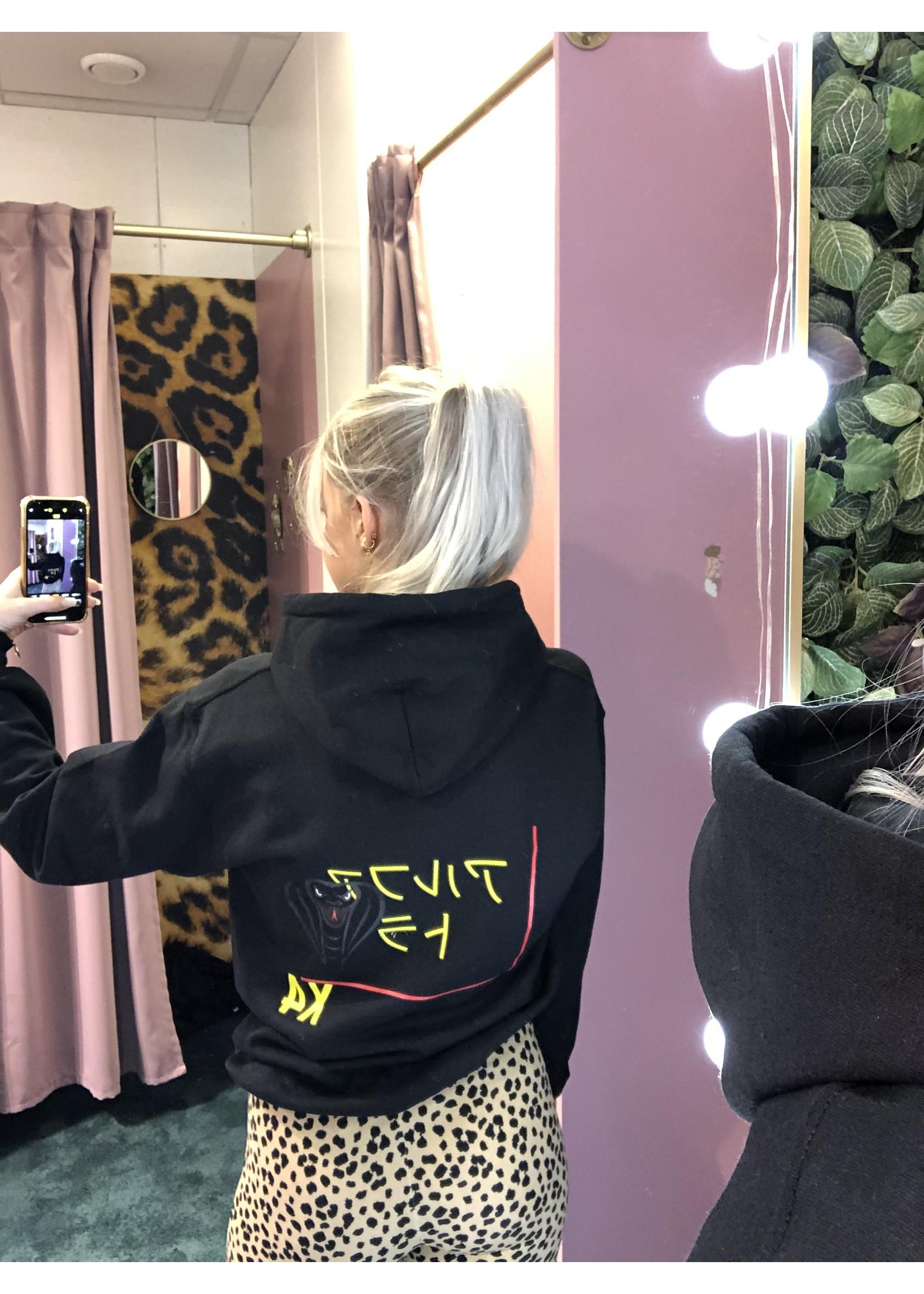 Ladybugs X4 hoodie back print ZWART