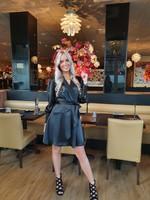 Ladybugs Satin dress Olivia ZWART