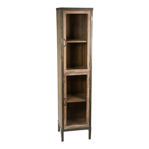PTMD PTMD simple metal wood combination cabinet one door
