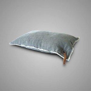 Brynxz Collections Brynxz cushion rug medium grey with frayed edges and eyelet + leath
