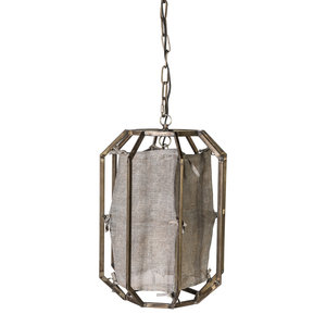 PTMD PTMD Canabas Grey hanging lamp metal frame with fabric