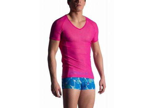 MANSTORE M904 V-Neck Tee (Low) Fuxia