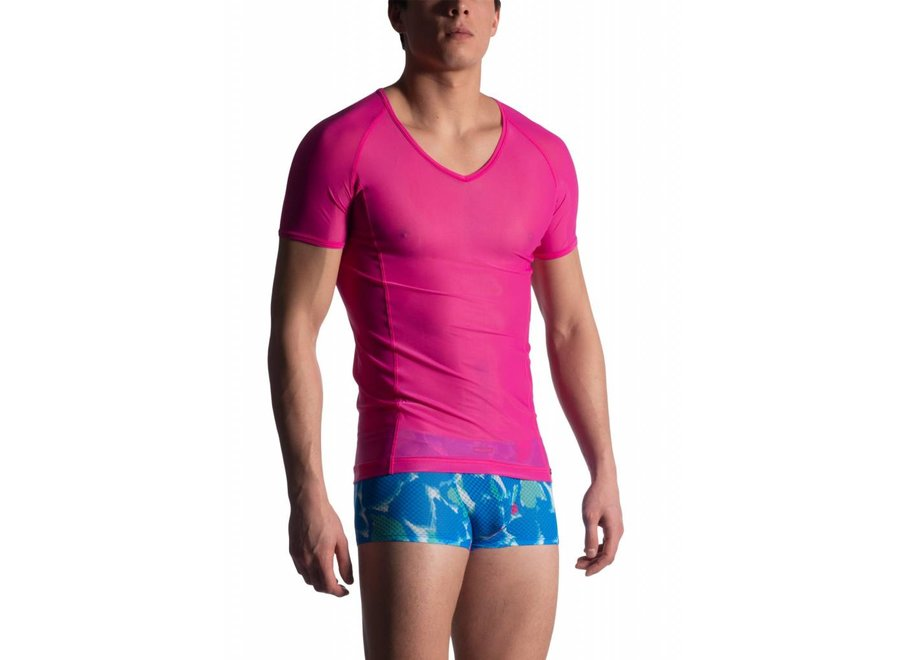 M904 V-Neck Tee (Low) Fuxia