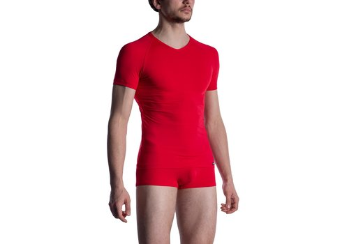 MANSTORE M800 V-Neck Tee (Reg) Red