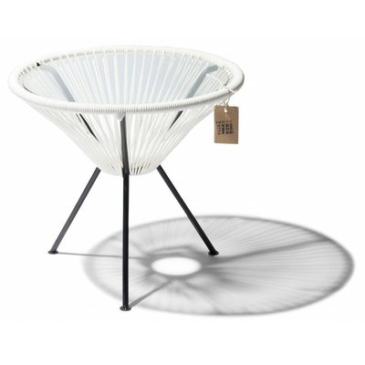 Table Japón white with glass table top