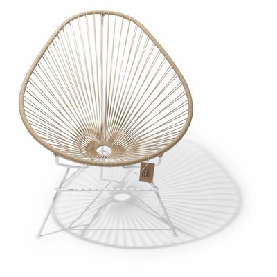 Acapulco Chair in Beige, White Frame