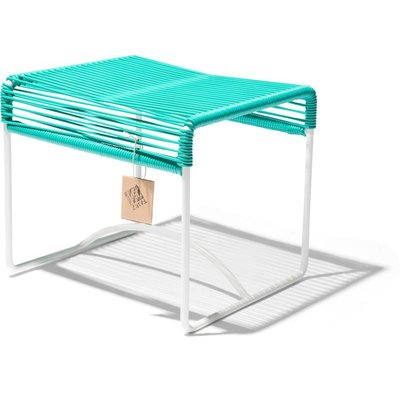 Xalapa Stool or Footrest in Turquoise, White Frame