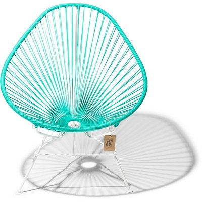 Acapulco Chair in Turquoise, White Frame