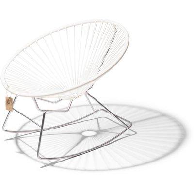 Condesa Rocking Chair in White, Chrome Frame