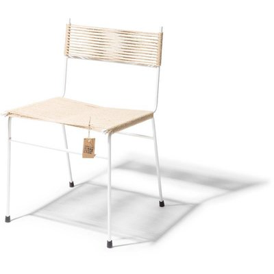 Polanco Dining Chair Hemp with white frame