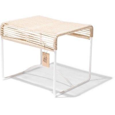Xalapa Stool or Footrest in Hemp, White Frame