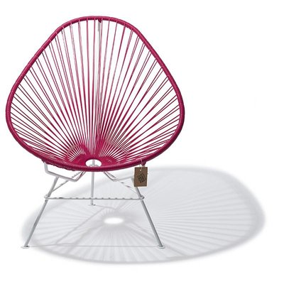 Acapulco Chair in Bougainvillea, White Frame
