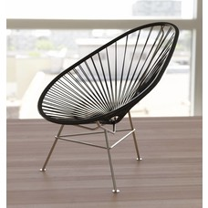 Exclusive Edition - Acapulco Chair in Black,  Stainless Steel Frame
