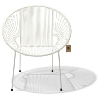 Luna Dining Chair in White with white frame