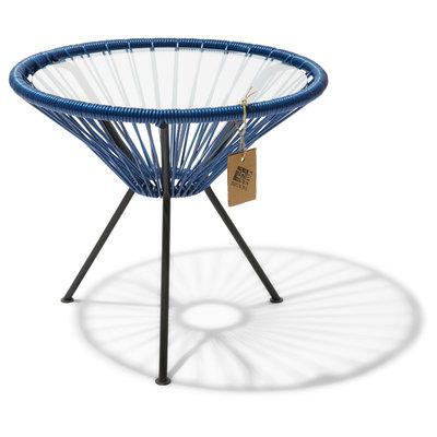 Table Japón in Metallic/Cobalt Blue, Glass Table Top