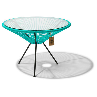 Table Japón XL in Turquoise, Glass Table Top