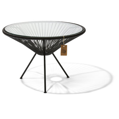 Table Japón XL in Black, Glass Table Top (Made w/ Recycled PVC)