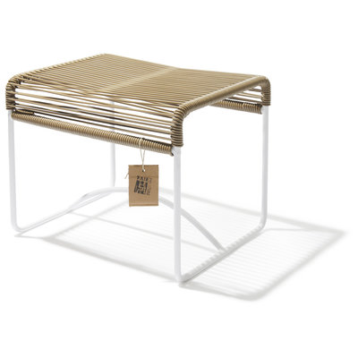 Xalapa Stool or Footrest in Beige, White Frame