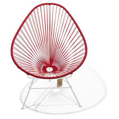 Acapulco Chair in Red, White Frame