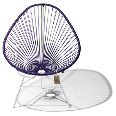 Acapulco Chair in Purple, White Frame