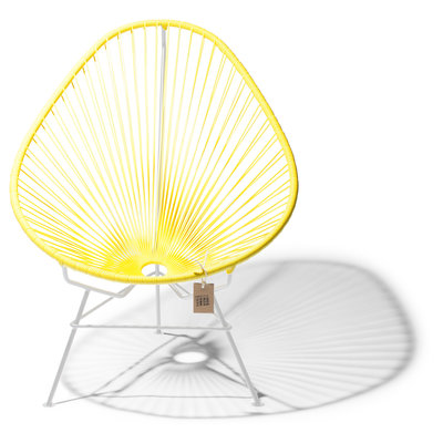 Acapulco Chair in Canary Yellow, White Frame