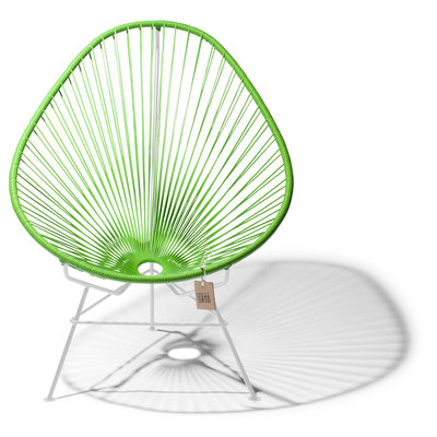 Acapulco Chair in Apple Green, White Frame