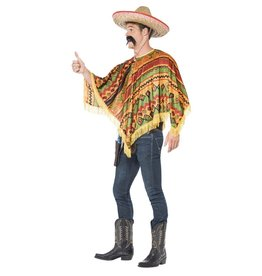 Smiffys mexicaanse poncho + snor