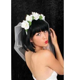 Diadeem bloemen + tule / bruidssluier